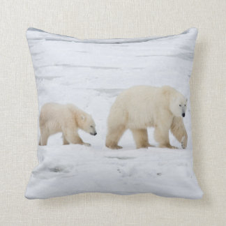 Polar Bears female and Two cubs 2 Throw Pillow