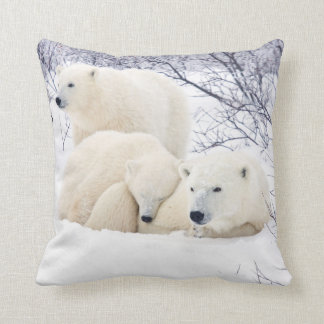 Polar Bears female and Two cubs 3 Throw Pillows