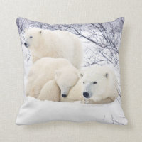 Polar Bears female and Two cubs 3 Throw Pillow