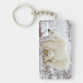 Polar Bears female and Two cubs Keychain