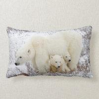 Polar Bears female and Two cubs Lumbar Pillow