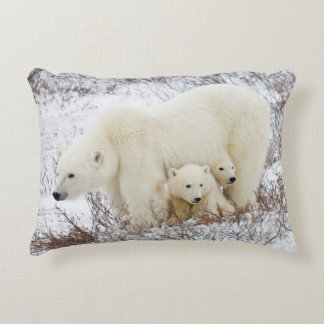 Polar Bears female and Two cubs Accent Pillow