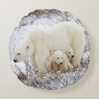 Polar Bears female and Two cubs Round Pillow