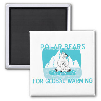 Polar Bears For Global Warming 2 Inch Square Magnet