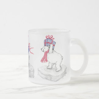 Polar Bears Frosted Mug! Frosted Glass Coffee Mug
