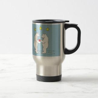 Polar Bears giving Heart and Yellow Star Travel Mug