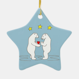 Polar Bears giving Heart and Yellow Stars Ceramic Ornament