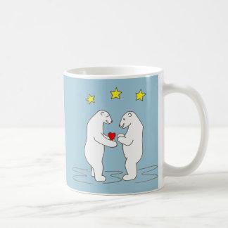 Polar Bears giving Heart and Yellow Stars Coffee Mug