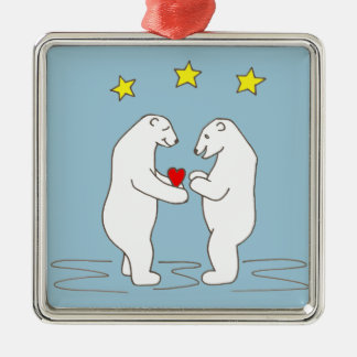 Polar Bears giving Heart and Yellow Stars Metal Ornament