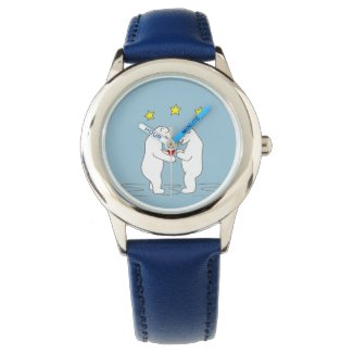 Polar Bears giving Heart and Yellow Stars Watches