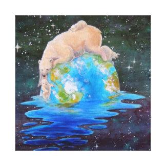 Polar Bears Global Warming Canvas