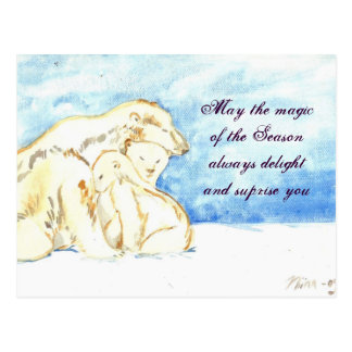 Polar bears holiday greetings Postcard