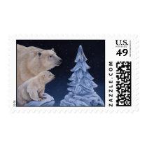Polar Bears Holiday Stamp