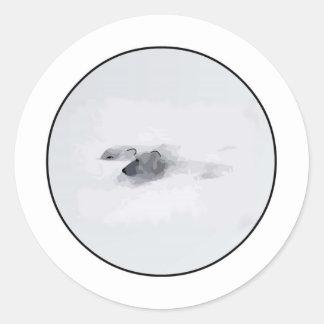 Polar Bears in a Blizzard Classic Round Sticker