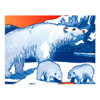 Polar Bears in Blue and Red Postcard