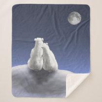 Polar Bears Moonlight Medium Sherpa Fleece Blanket