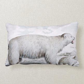 Polar Bears Old Illustration Lumbar Pillow