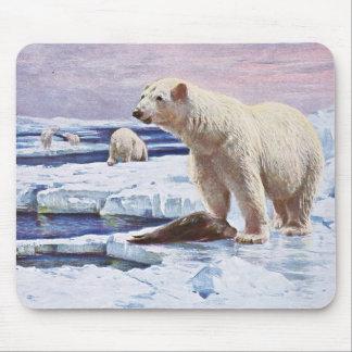 Polar Bears on Ice Floes Art Mouse Pad
