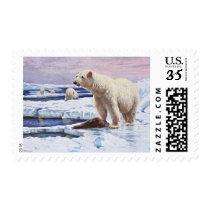 Polar Bears on Ice Floes Art Postage