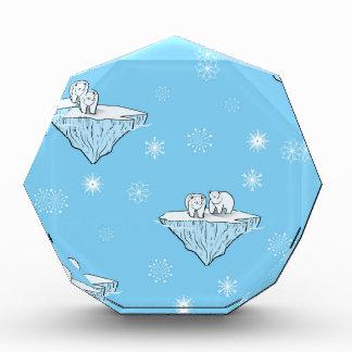 Polar bears on icebergs acrylic award