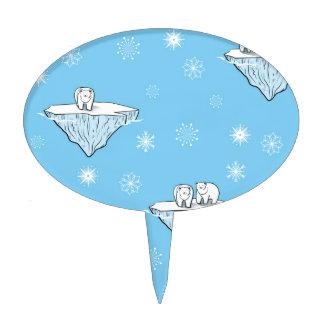 Polar bears on icebergs cake topper