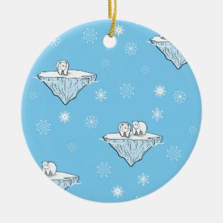 Polar bears on icebergs ceramic ornament