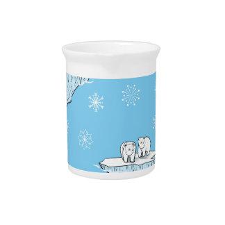 Polar bears on icebergs drink pitchers