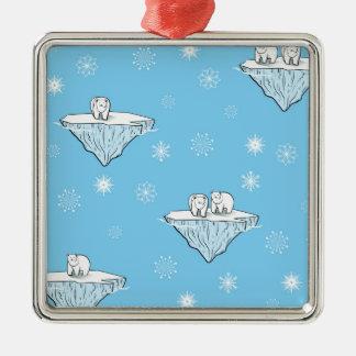 Polar bears on icebergs metal ornament