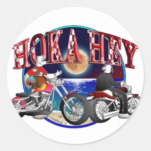 POLAR BEARS ON MOTORCYCLES: HOKA HEY ROUND STICKERS