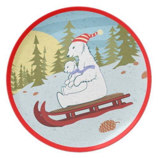 Polar bears on sled plate