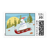 Polar bears on sled postage
