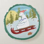 Polar bears on sled round pillow