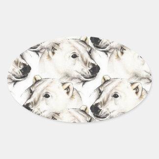Polar Bears Oval Sticker