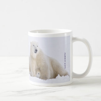 Polar bears play fighting coffee mug