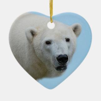 Polar bears profile ceramic ornament