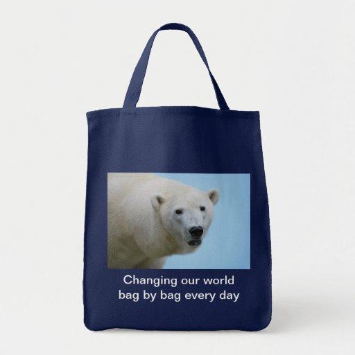Polar bears profile grocery tote bag
