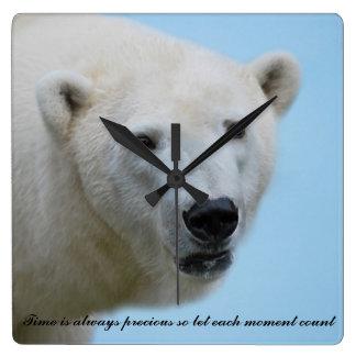 Polar bears profile square wall clock