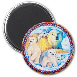 Polar Bears Round Magnet