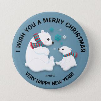 Polar Bears Snowflakes Merry Christmas Button