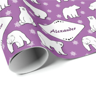 Polar Bears Snowflakes Monogrammed Purple Giftwrap Gift Wrapping Paper