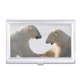 Polar Bears sparring Case For Business Cards