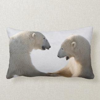 Polar Bears sparring Lumbar Pillow