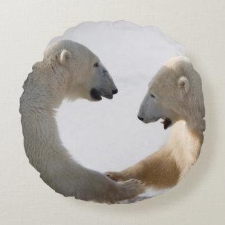 Polar Bears sparring Round Pillow