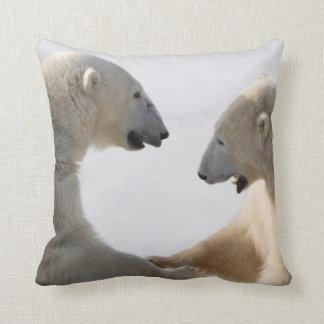 Polar Bears sparring Throw Pillow