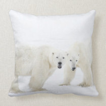 Polar Bears standing on snow after playing 2 Throw Pillow