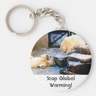 Polar Bears! Stop Global Warming! Basic Round Button Keychain