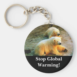 Polar Bears! Stop Global Warming! Keychain