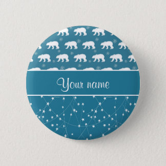Polar Bears Twinkling Stars Personalized Button