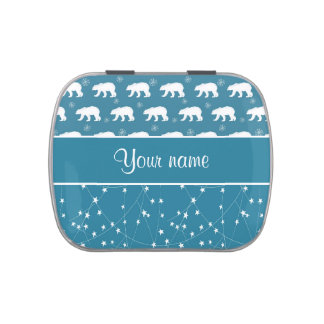 Polar Bears Twinkling Stars Personalized Candy Tin