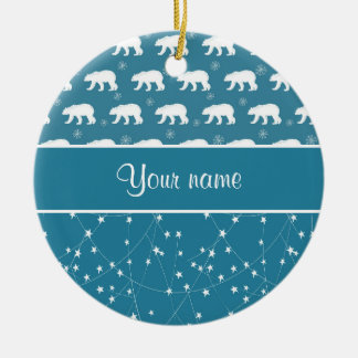 Polar Bears Twinkling Stars Personalized Ceramic Ornament